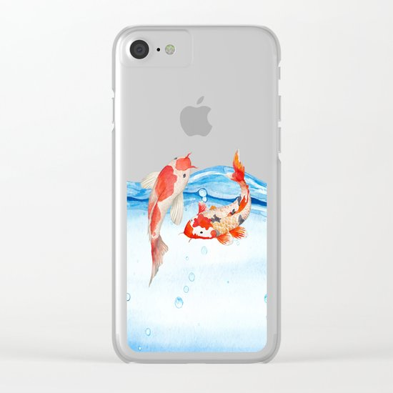 Happy koi fish- fishes sea water lake Clear iPhone Case