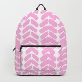 Hand-Drawn Herringbone (Pink & White Pattern) Backpack