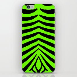 Black and Neon Green Tropical Zebra Animal Stripes iPhone Skin