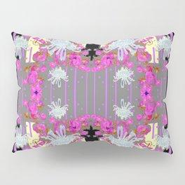 Yellow Art White Spider Mums Pink Flowers Garden Art Pillow Sham