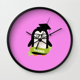 Penguin nerd from Chicago T-Shirt for all Ages Wall Clock