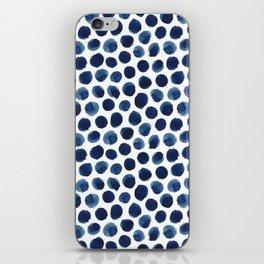 Large Indigo/Blue Watercolor Polka Dot Pattern iPhone Skin