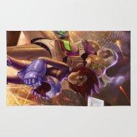 megaman Area & Throw Rugs featuring Megaman X Samus by ImmarArt