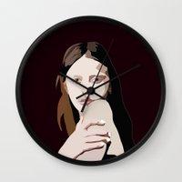 goth Wall Clocks featuring Mia Goth by Anna McKay