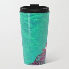 Claire´s treasure I - Pink lace,ribbon and pearl on aqua backround Metal Travel Mug