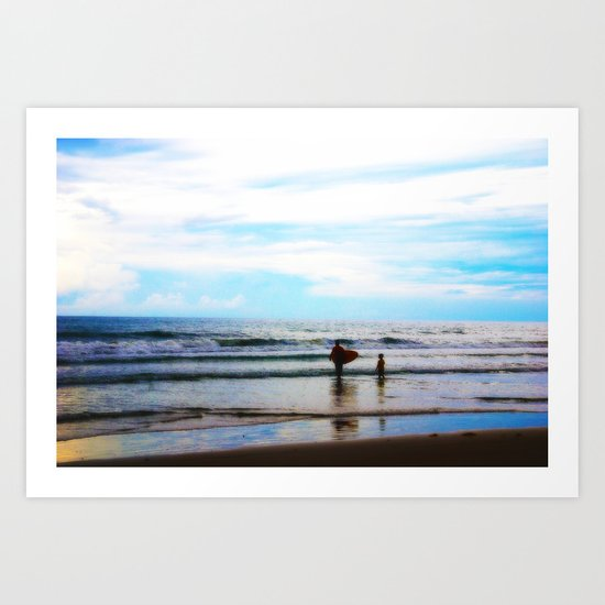 Father and Son Moments at the Beach Art Print