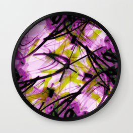 All Over Abstract Pollock Style Purple and Green Wall Clock