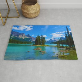 Spirit Island on Maligne Lake in Jasper National Park, Canada Rug
