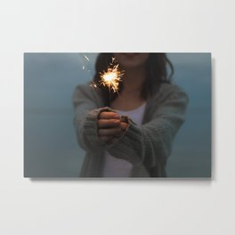 woman with sparkler Metal Print