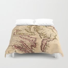 Vintage Map of The Chesapeake Bay (1719) Duvet Cover