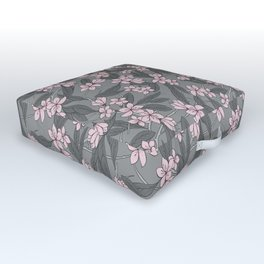 Sakura Branch Pattern - Ballet Slipper + Neutral Grey Outdoor Floor Cushion