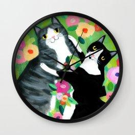 lovebirds CATS in flower garden painting by TASCHA Wall Clock