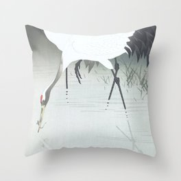 Two cranes fishing in the swamp - Vintage Japanese Woodblock Print Art Throw Pillow