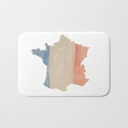 France Outlne with Tri-color Flag in Watercolors Bath Mat