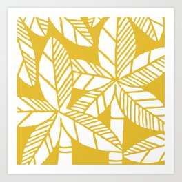 Tropical Palm Tree Composition Yellow Art Print