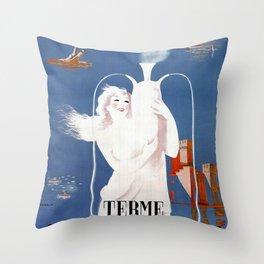 Sirmione Lake Garda travel Throw Pillow