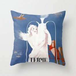 Sirmione Lake Garda travel Throw Pillow