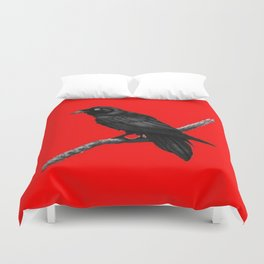Decorative Chinese Red Black Crow Design Duvet Cover