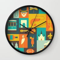 new orleans Wall Clocks featuring New Orleans by Ariel Wilson