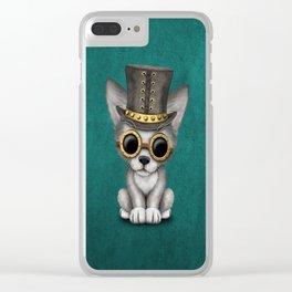 Steampunk Baby Wolf Cub on Blue Clear iPhone Case