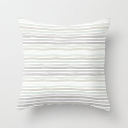 Watercolor Stripes Hues of Grey by Friztin Throw Pillow
