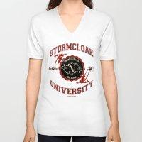 skyrim V-neck T-shirts featuring Stormcloak University(Skyrim) by Chubbybuddhist