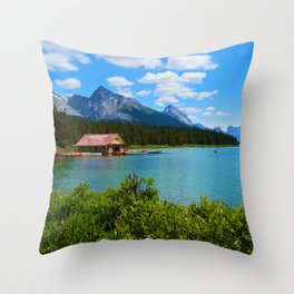 Maligne Lake Boat House in Jasper National Park, Canada Throw Pillow