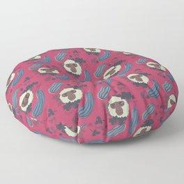 Macaques & Squash (magenta) Floor Pillow