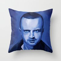 jesse pinkman Throw Pillows featuring Jesse Pinkman by Richtoon