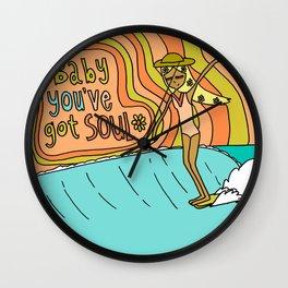 Baby you've got soul // surf art lady slide Wall Clock