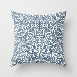 William Morris Navy Blue Botanical Pattern 2 Throw Pillow