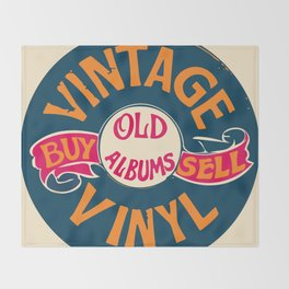 Vintage Vinyl, Old Album Throw Blanket