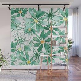 Green Watercolor Daisies Wall Mural