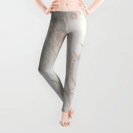 Marble Rose Gold Blush Pink Metallic by Nature Magick Leggings