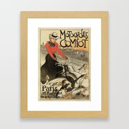 1899 vintage French motorcycle ad by Steinlen Framed Art Print