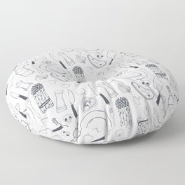 Black hand drawn ratatouille sketched pattern Floor Pillow
