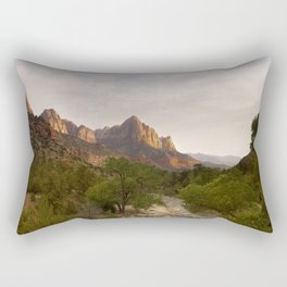 Virgin River and The Watchman at sunset. Rectangular Pillow