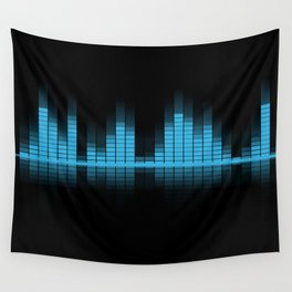 Cool Blue Graphic Equalizer Music on black Wall Tapestry