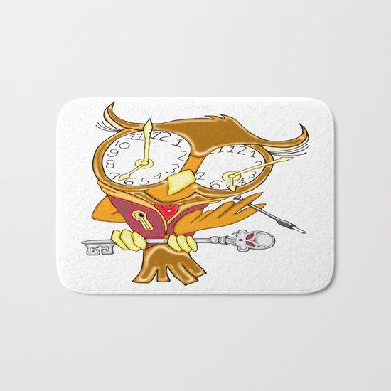 Whimsical Steampunk Owl Bath Mat