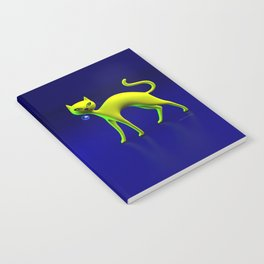 The Yellow Cat And Glass Blue Cherry Notebook
