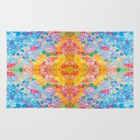 lsd Area & Throw Rugs featuring LSD Flower by Zeus Design