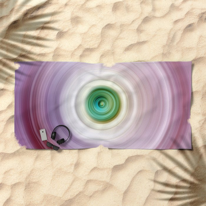 Pink and White Swirl with Green Center Beach Towel