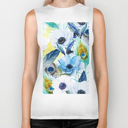 Watercolor Peacock Feather Pattern Biker Tank