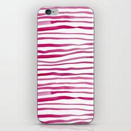 Irregular watercolor lines - pink iPhone Skin