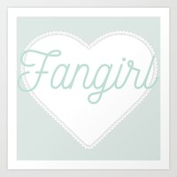 fangirl Art Prints featuring Fangirl by mimeowmia