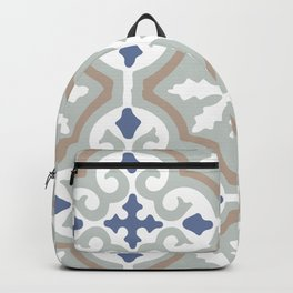 Moroccan Abstract Tile Mosaic Pattern Grey and Blue Backpack