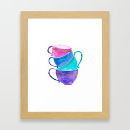 Stacked teacups Framed Art Print