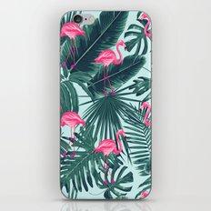 tropical pink flamingo iPhone Skin