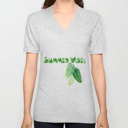 Summer Leaves - White Background Unisex V-Neck