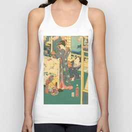 Spring Outing In A Villa Diptych #2 by Toyohara Kunichika Unisex Tank Top